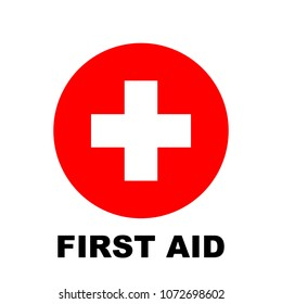 First aid icon, medical cross symbol with first aid text, vector illustration.