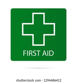 First aid icon, medical symbol. Vector.