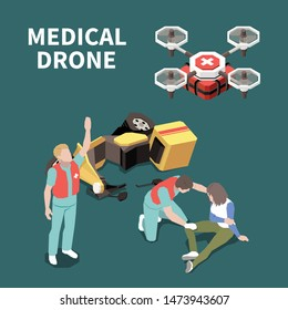 First aid isometric composition with injured woman medical drone and doctors 3d, vector illustration