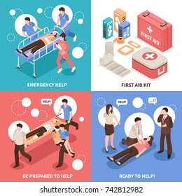 First aid isometric design concept with emergency help, people ready to assistance, medical kit isolated vector illustration