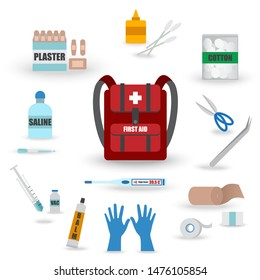 First Aid Kit in Backpack for Emergency Accident such as Latex Gloves,Plaster,Syringe,Vaccine,Thermometer,Gauze,Elastic Bandage,Saline,Balm,Tweezers,Cotton - Vector EPS10