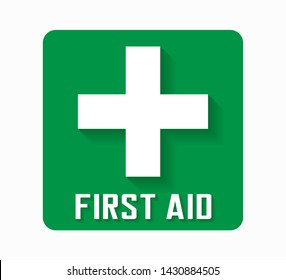 First Aid kit box icon in green color and shadows. Classic plus sign in medical area. Vector illustration.