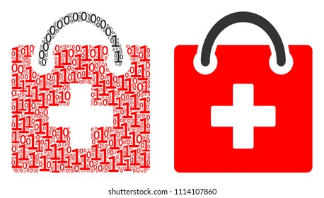 First aid kit composition icon of zero and null digits in various sizes. Vector digits are organized into first aid kit mosaic design concept.