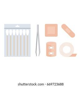 first aid kit, cotton swabs, tweezer, bandage, plaster adhesive tape in flat design vector