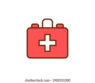 First aid kit flat icon. Thin line signs for design logo, visit card, etc. Single high-quality outline symbol for web design or mobile app. Medical outline pictogram.