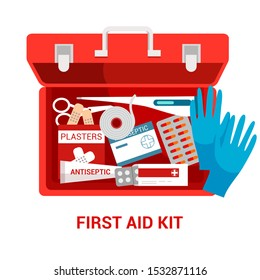 First aid kit flat vector illustration. Red box with medications. Emergency and paramedic service tool. Medical equipment isolated clipart on white background. Medicine and healthcare poster design