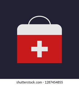 First aid kit. Health care. Flat design style. Vector illustration.
