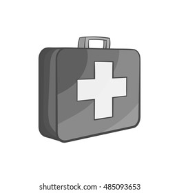 First aid kit icon in black monochrome style isolated on white background. Medicine symbol vector illustration