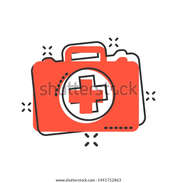 First Aid Kit Icon Comic Style Stock Vector (Royalty Free) 1441752863
