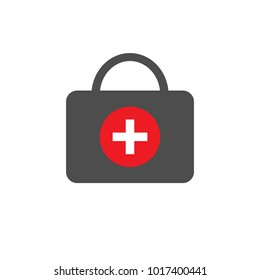 First aid kit icon. Medical bag with cross symbol. Vector.