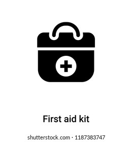 First aid kit icon vector isolated on white background, logo concept of First aid kit sign on transparent background, filled black symbol
