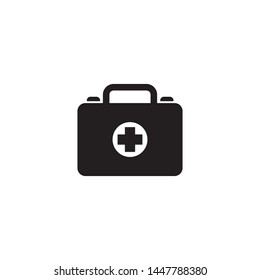 First aid kit icon vector. Medical bag for health symbol. Simple design on white background.