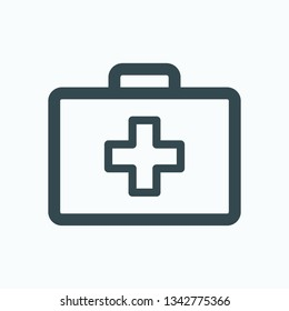 First aid kit isolated icon, veterinary first aid case outline icon