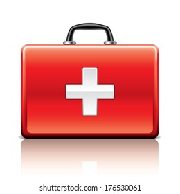 First aid kit isolated on white photo-realistic vector illustration