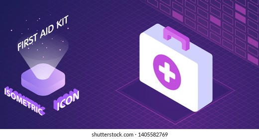 First aid kit isometric icon. Vector illustration. 3d concept