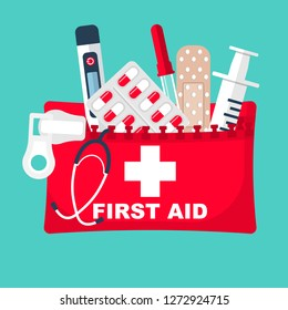 First aid kit. Medical equipment and medications. Healthcare concept. Vector illustration flat design. Emergency template banner. Help in colds. Syringe pill pipette and plaster for travel and auto.