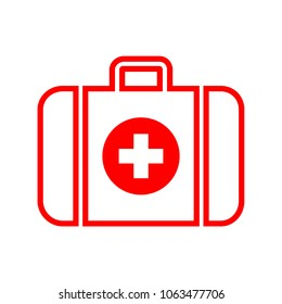 First aid kit, medical help icon in red and white colors, vector illustration.