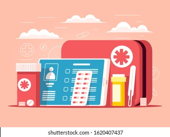 First aid kit and medical supplies. Healthcare online concept. Sale of medical drugs online