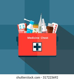 First aid kit with medicines isolated on dark background. Pills, vitamins, capsules, thermometer. Vector illustration.