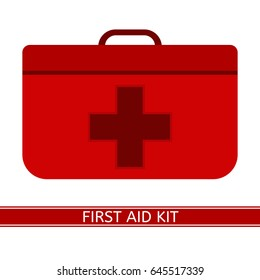 First Aid Kit with red cross vector icon. Medical case isolated on white background, flat style. Camping emergency equipment.