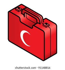 First aid kit in red with the official crescent symbol in white.