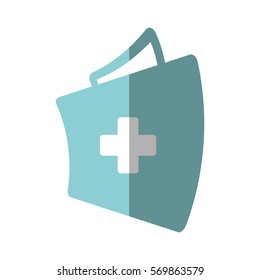 first aid kit suitcase emergency clinic shadow vector illustration eps 10