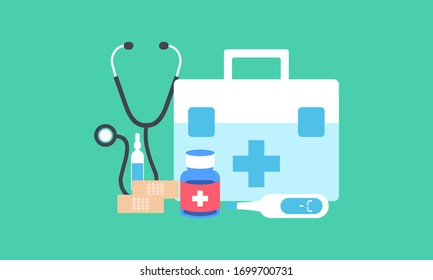 First aid kit supply emergency medical products realistic, healthy care logo