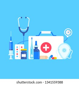First aid kit. Vector illustration. Medical supplies, medical equipment concepts. Flat design. First aid kit with medical cross, stethoscope, syringe, pocket mask, pills, thermometer, adhesive bandage