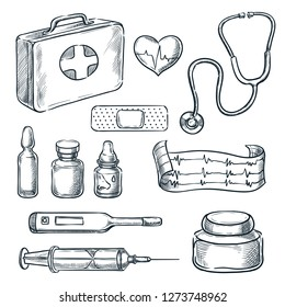 First aid kit vector sketch illustration. Medicine and healthcare hand drawn icons and design elements.