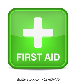 First aid medical button sign isolated on white. Vector illustration