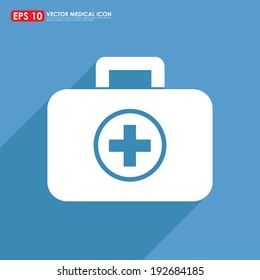 First aid or medical kit icon on blue background