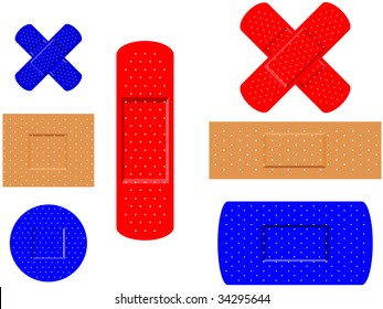 first aid medical plasters vector illustrated
