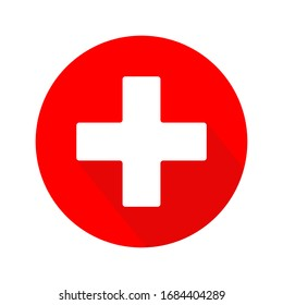 First aid medical sign flat icon for apps and website