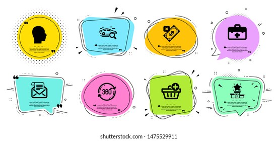 First aid, Rejected payment and Full rotation line icons set. Chat bubbles with quotes. Search car, Winner podium and Mail newsletter signs. Add purchase, Head symbols. Vector