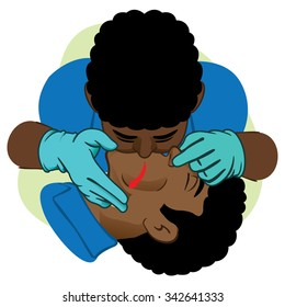 First Aid resuscitation (CPR), mouth-to-mouth resuscitation. African descent with gloves. For resuscitation. Ideal for training materials, catalogs and institutional