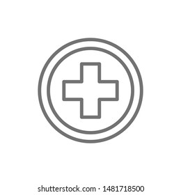 First aid sign, pharmacy, hospital line icon.
