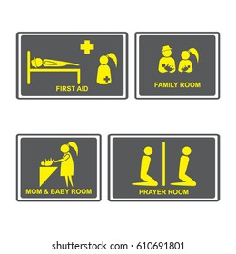 First aid Signs.First aid room on Signboards.Family room,prayer room,Mom and baby room on Signboards.People icons set.Vector illustration