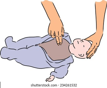 First aid - spr heart massage for baby