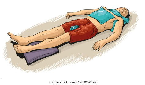 First aid at sun stroke or heat stroke