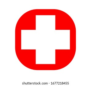 first aid symbol, pharmacy sign, red addition sign or swiss flag