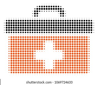 First Aid Toolbox halftone vector pictogram. Illustration style is dotted iconic First Aid Toolbox icon symbol on a white background. Halftone texture is round dots.
