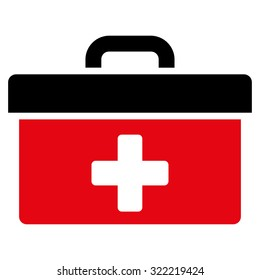 First Aid Toolbox vector icon. Style is bicolor flat symbol, intensive red and black colors, rounded angles, white background.