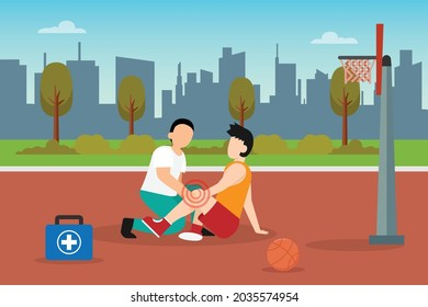 First aid vector concept: Young man gets injury treatment from paramedic while playing basketball in basket field