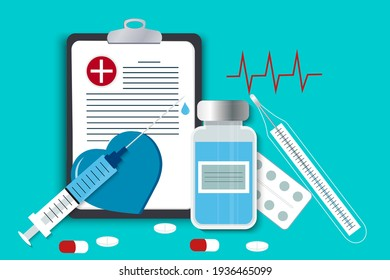 First aid vector image. A set with medicines and means for the provision of medical care. First aid kit with pharmaceuticals. Health diagnostics. Syringe, pills, thermometer, bottle of solution, docto