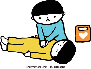 First aid-resuscitation procedure. CPR heart massage for breathless people