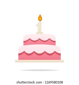 First anniversary or birthday cake vector isolated