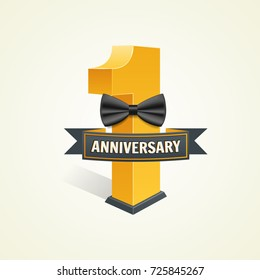 First anniversary celebration background. 1 year of wedding, birthday company Vector illustration number one with bow
