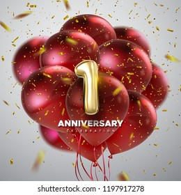 First Anniversary celebration. Golden number 1 with sparkling confetti and flying red balloons. Vector festive illustration. Realistic 3d sign. Birthday or wedding party event decoration