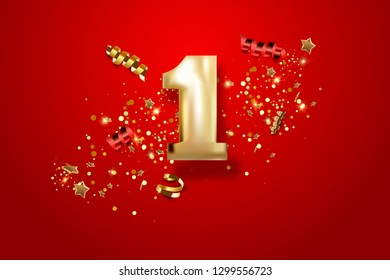 First Anniversary celebration. Golden number 1 with sparkling confetti, stars, glitters and streamer ribbons. Vector festive illustration.