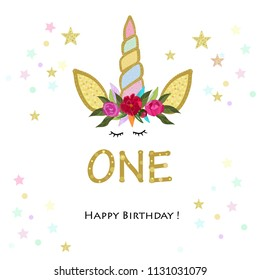 First birtday. One. Unicorn Birthday invitation. Party invitation greeting card